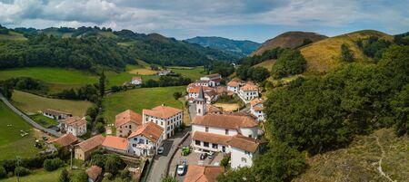 Aerial view, Basque Country, Aldudes Valley, the village of Urepel, Pyrénées-Atlantiques, France, Europe 版權商用圖片