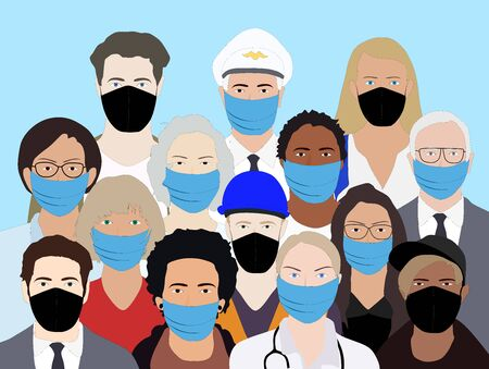 People wering masks during the epidemia vector Ilustración de vector