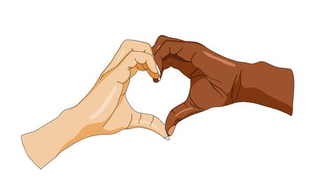 An illustration depicting two hands of different skin colors forming a heart