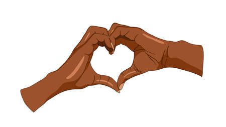 An illustration depicting two hands of black skin colors forming a heart