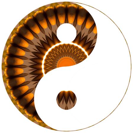 Yin Yang Brown and Orange Kaleidoscope Zdjęcie Seryjne