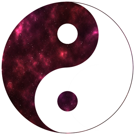 Yin Yang red space with stars Фото со стока