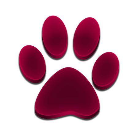 Logo footprint of dog 3d purple pink color Stock Photo