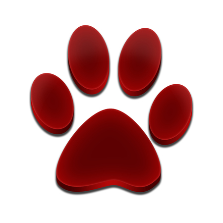 footprint of dog 3d red color Stock Photo