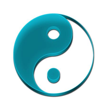 Yin Yang Symbol Icon Logo 3D Sky Blue Color