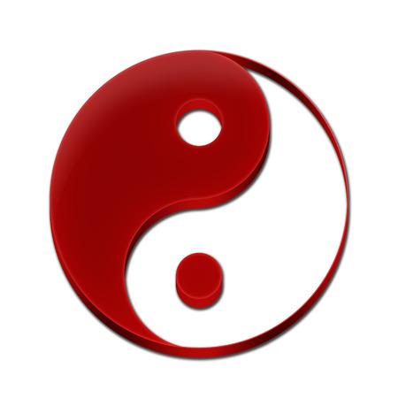 Yin Yang Symbol Icon Logo 3D Red Color Фото со стока