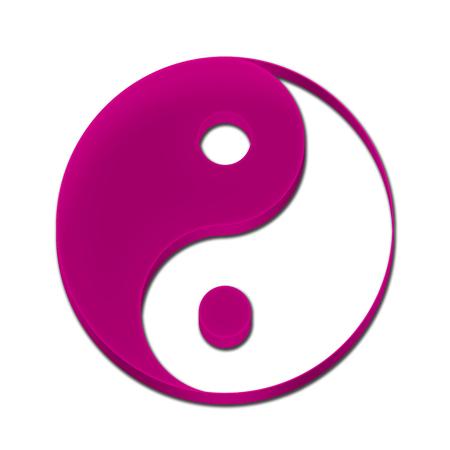 Yin Yang Symbol Icon Logo 3D Pink Color