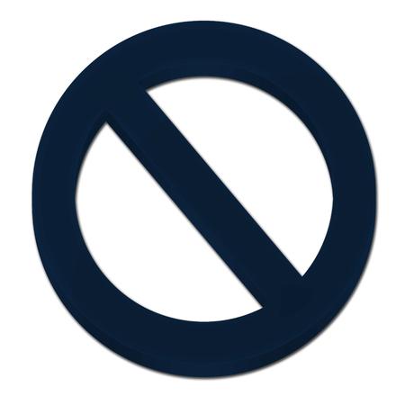 Forbidden sign 3D icon synbol logo dark blue color Imagens