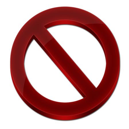 Forbidden sign 3D icon synbol red color