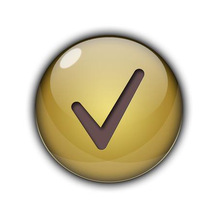 Tick bouton de l & # 39 ; or de couleur marron Banque d'images - 94389694