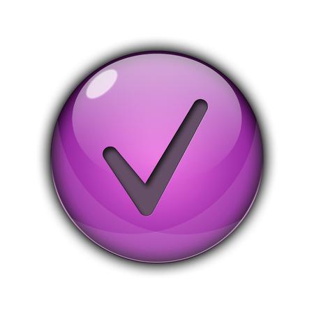 Tick â ? ? Ã ? ¢ J'aime bouton Violet Banque d'images - 94293489