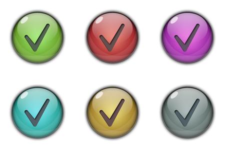 Tick ??Like Button Multicolor Stock Photo