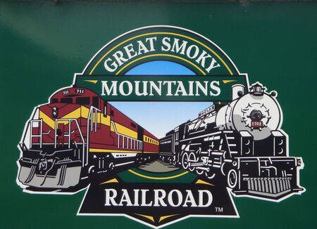 smoky: sign for Great Smoky Mountain  railroad Editorial