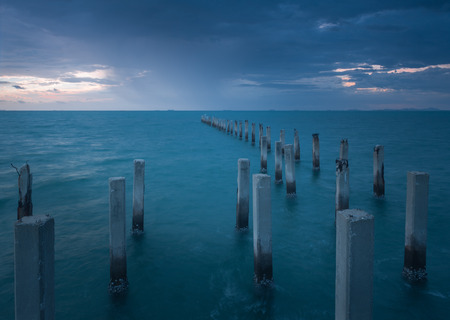 hard sell: Columns in the sea Stock Photo