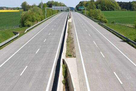 Corona crisis - Almost empty west autobahn A1 near Laakirchen (Gmunden district, Upper Austria, Austria) - Corona crisis - Almost empty Highway A1 near Laakirchen (Gmunden district, Upper Austria, Austria) -