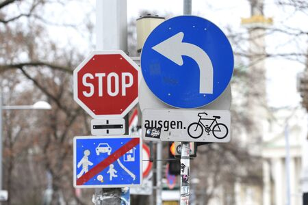 Various traffic signs can be seen in the center of Vienna.