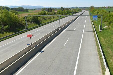 Corona crisis - Almost empty Highway A1 near Laakirchen (Gmunden district, Upper Austria, Austria) -