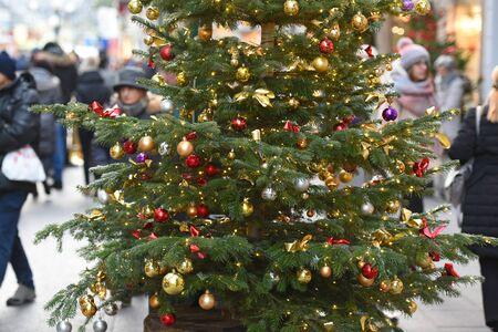 Christmas tree in the pedestrian area in Bad Ischl (Gmunden district, Upper Austria)