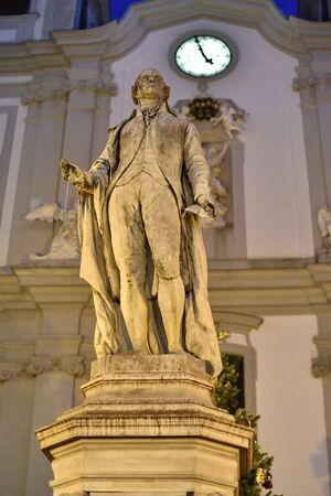 Monument to the great Austrian composer Joseph Haydn (1732-1809) on Mariahilfer Strasse in Vienna. Haydn wrote 108 symphonies, 19 operas, 83 string quartets, 16 overtures, 14 masses and numerous piano concerts and sonatas.