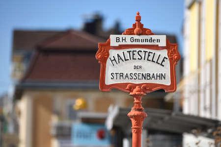 Station sign of the Traunsee-Tram Traunseetram - Gmunden-Vorchdorf (Gmunden district). The Traunsee-Tram (Traunseetram) Gmunden connects Gmunden Central Station and Vorchdorf Train Station (Gmunden district). Redakční