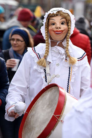 Carnival in Salzkammergut - The drum woman is a figure that appears in groups in the carnival in the Ausseerland in Styria.