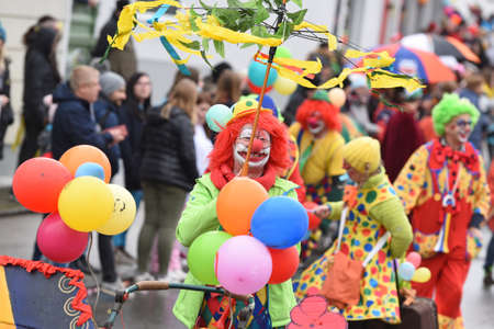 Carnival in the Salzkammergut - here is still celebrated properly - a clown during a carnival parade (Upper Austria, Austria) Carnival in the Salzkammergut - there is still a good party here - on the picture a clown at a carnival parade (Gmunden district,