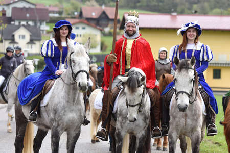Georgi Ride in Ampflwang am Hausruck (Vöcklaruck District) - Georgiritt is the name for horse pilgrimages in honor of St. George, which mostly go back to centuries-old traditions. They take place every year in different places in Austria.