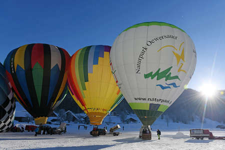 Balloon week in Gosau (Gmunden district, Upper Austria, Austria) with an international field of starters. Every year around 40 balloonists from all over Europe meet here in January.
