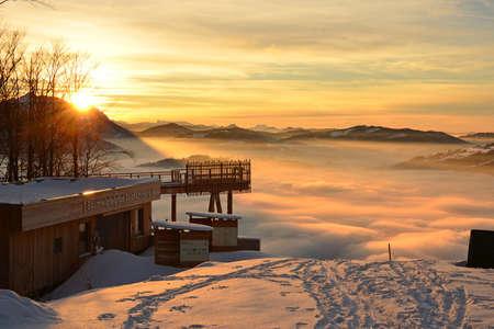 Sunset with clouds in winter on the Grünberg (Gmunden district, Upper Austria, Austria)