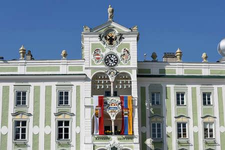 Town hall in Gmunden with flags (Gmunden district, Upper Austria, Austria)