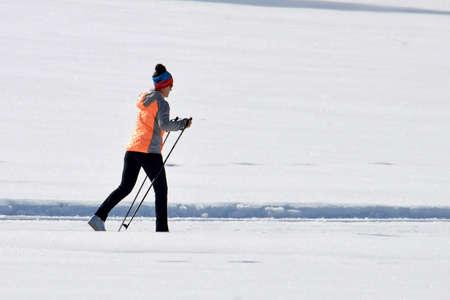 Cross-country skiing on Lake Wolfgang St. Wolfgang Salzkammergut (Gmunden district, Upper Austria, Austria)