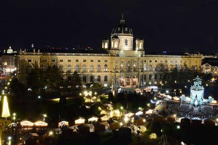 Vienna at night - Kunsthistorisches Museum KHM with Christmas Market (Austria). Editoriali