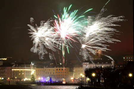 New Year's fireworks on the town square in Gmunden (Upper Austria, Austria)