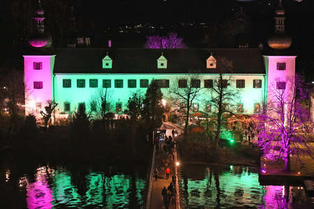 Every year at Christmas time, Ort Castle near Lake Traunsee in Gmunden (Upper Austria, Austria) is illuminated with bright colors.