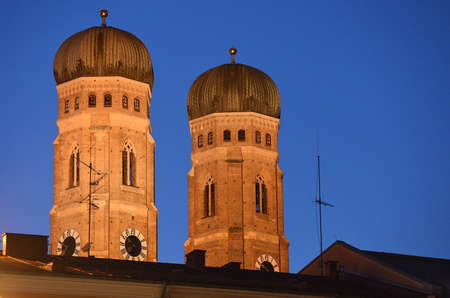 Cathedral Frauenkirche in Munich in the evening, Bavaria, Germany, Europe