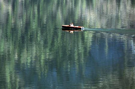 A boat on Lake Hallstatt in the Salzkammergut, Austria, Europe Reklamní fotografie