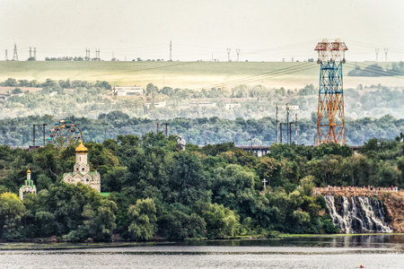 Picture, panoramic photo wallpapers landscape top view spring city Dnieper, Ukraine Stock Photo