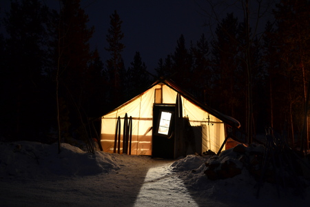 snow, arctic, cottage, forest; whitehorse; Winter; home