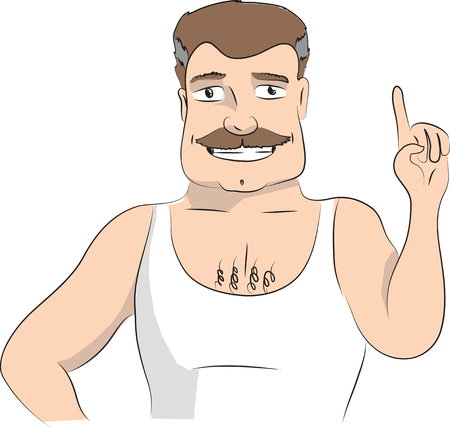 forefinger: Man making attention gesture with forefinger. Vector illustration on white background.