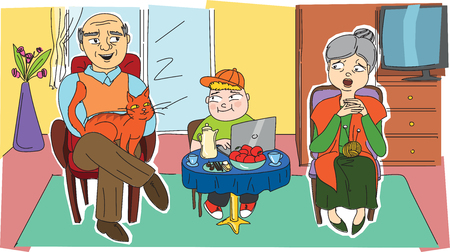 grandchild: Happy grandparents and their grandchild that are in a room