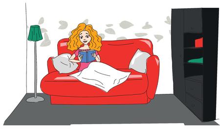 teenage girl: Illustration of a Teenage Girl Reading a Book