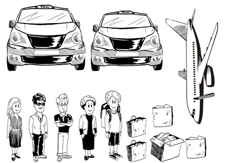 whitw: Black and whitw illustration of people, taxi, plane. Stock Photo
