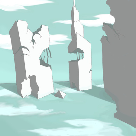 destroyed: Old destroyed building. Pop art