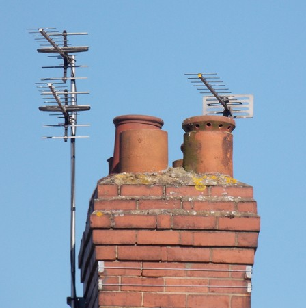 Chimney Stack & TV Aerials Stok Fotoğraf