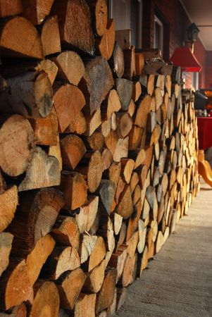 A stack of firewood on a tarrace