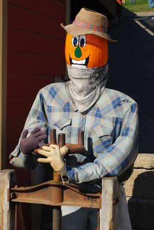 Pumpkin puppet farmer on a farmers market