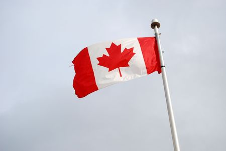 canadian maple leaf flag waving in the sky.