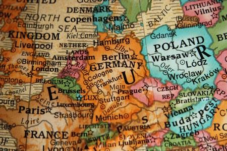 deutschland karte: Karte von Deutschland und zentralen Europa auf einem Globus Vintage Stil