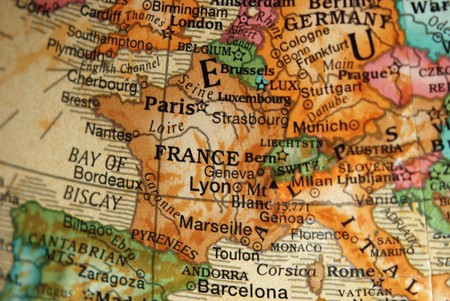 Map of france and central europe on a vintage style globe