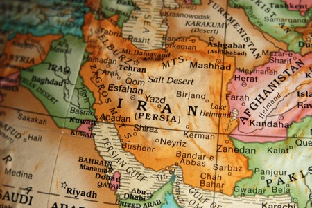 middle east crisis: Map of Iran on a vintage style globe